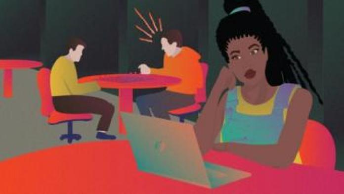 Men swearing while playing chess behind black woman