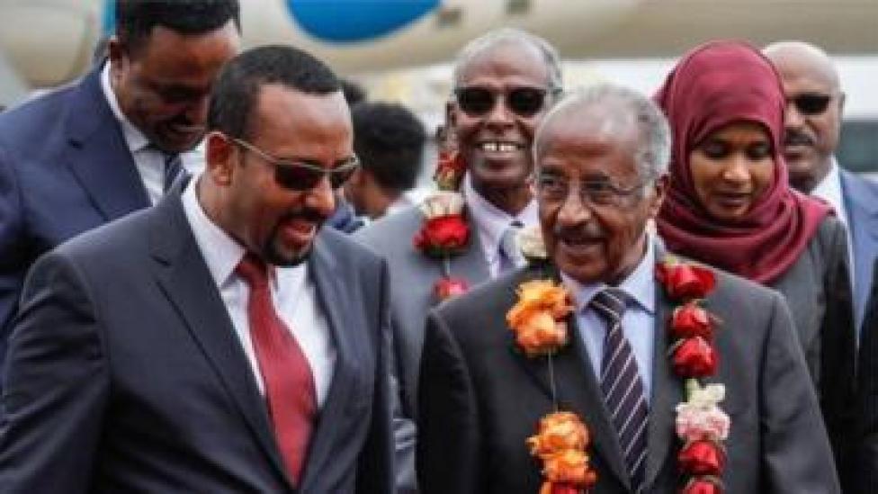 Abiy Axmed oo soo dhawaynaya wasiirka arimaha dibadda Eritrea Cismaan Saalix