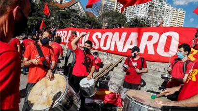 Demonstrators protest against the Brazilian president in Sao Paulo, Brazil, 21 June 2020