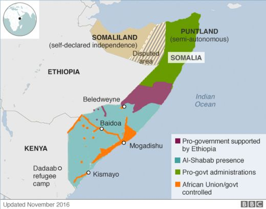 Territory control map of Somalia, also showing Dadaab refugee camp in Kenya