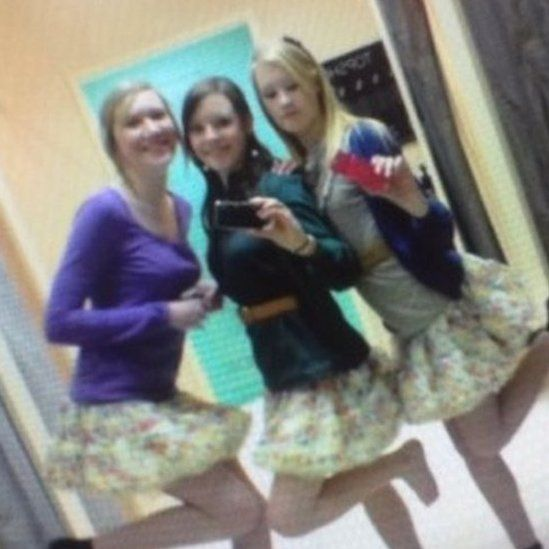 Nicole Petty with friends in changing rooms