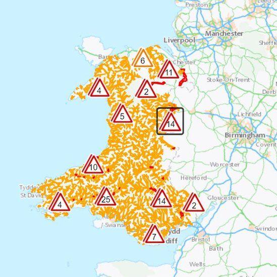 Map showing flood warnings