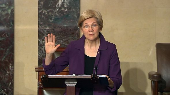 In this image from Senate Television, Sen. Elizabeth Warren, D-Mass., speaks on the floor of the U.S. Senate in Washington, Feb. 6, 2017