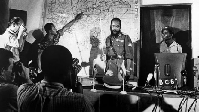 Undated file picture of Colonel Odumegwu Emeka Ojukwu, the leader of the breakaway Republic of Biafra, giving a press conference during the Biafra war