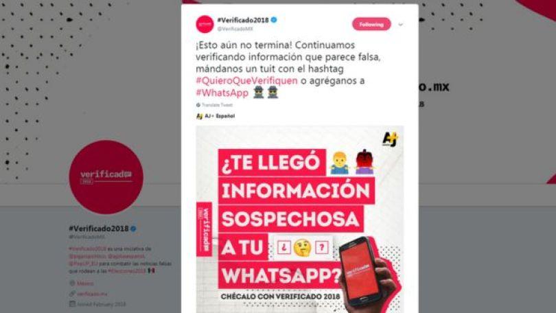 """Reprodução da tela do Twitter do perfil do Verificado 2018, com os dizeres: """"recebeu informação suspeita no WhatsApp?"""""""