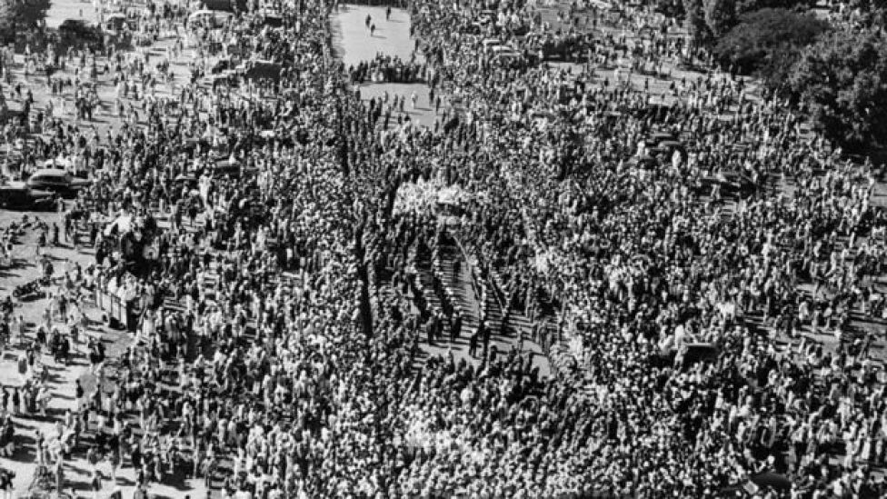 Funeral procession for Mahatma Gandhi