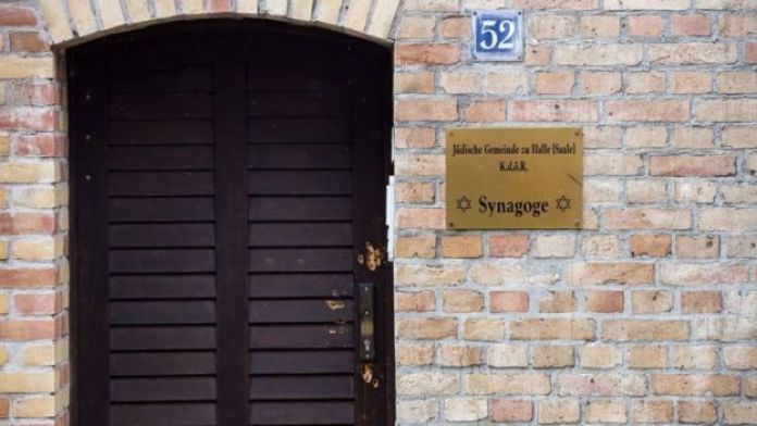Door of the Halle synagogue attacked by a gunman in October 2019