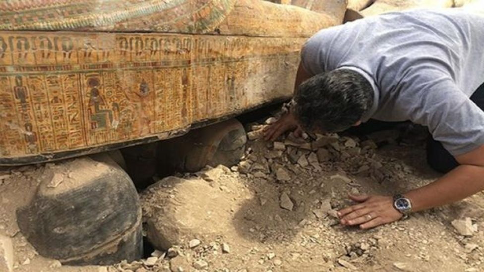 Ancient Egyptian coffins uncovered at the Theban necropolis of Asasif, near Luxor