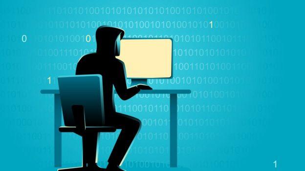 Ilustración de un pirata informático en un PC.