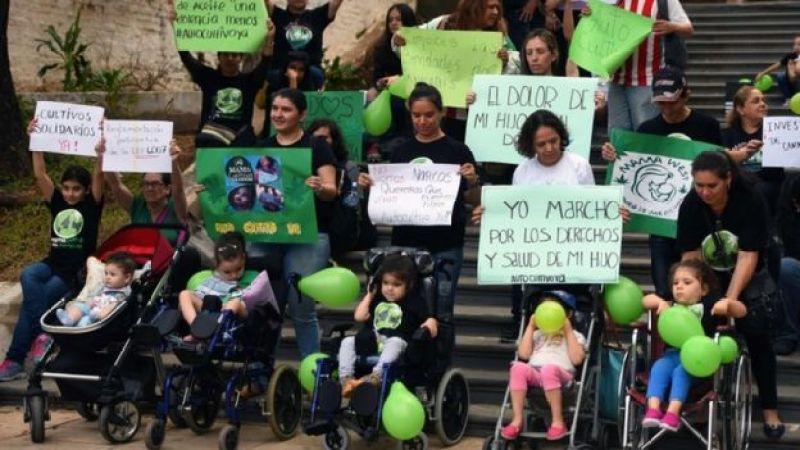 Mulheres da organização 'Mamãe Cultiva', acompanhadas de seus filhos pequenos (alguns em cadeira de rodas), protestam com cartazes pela legalização do uso medicinal da maconha no Paraguai