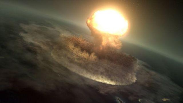 Ilustração mostrando o impacto do asteroide que dizimou os dinossauros