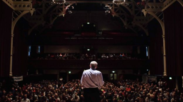 Jeremy Corbyn in a hall in Middlesbrough