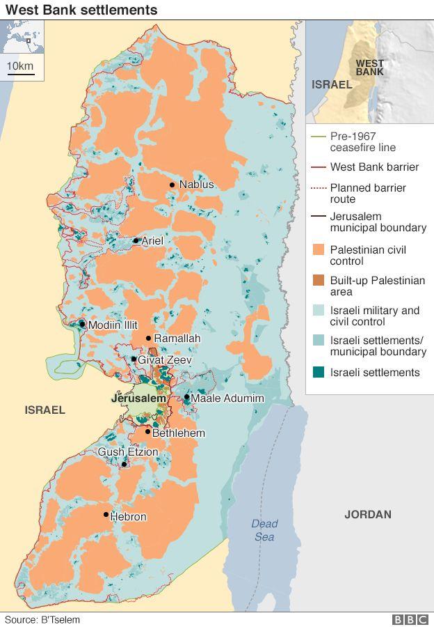 West Bank settlements map