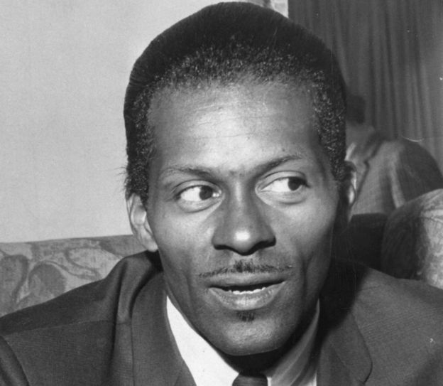 American rock 'n' roll singer, songwriter and guitarist Charles 'Chuck' Berry in 1965