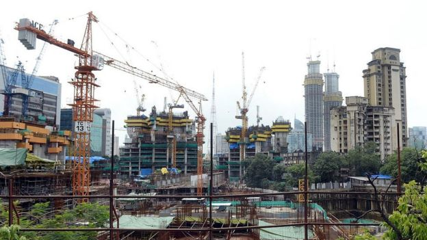 A general view of the construction site of the under construction luxury apartment block, 'The Park' also dubbed as 'Trump Tower', is pictured in Mumbai on July 31, 2015.