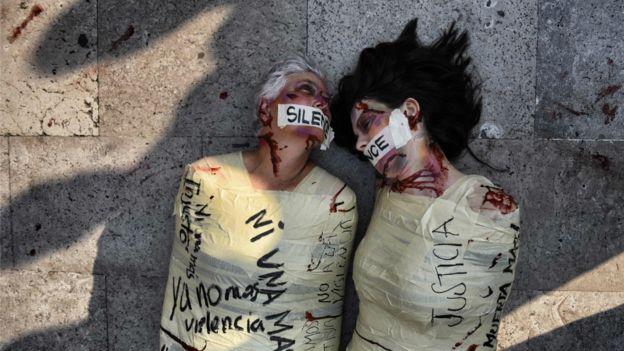 Protesta contra los femicidios en México