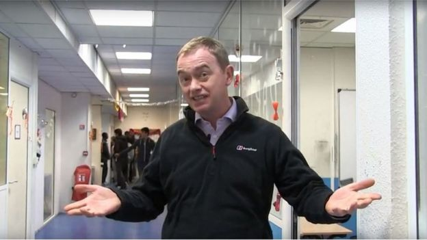 Tim Farron video grab from Christmas message