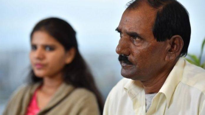 Ashiq Mesih (R) and Eisham Ashiq, the husband and daughter of Asia Bibi speak in London
