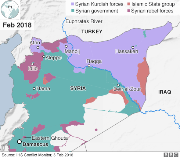 Map showing control of Syria (5 February 2018)