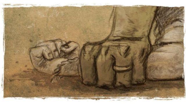 Ilustração representa violência usada contra Tábata na infância