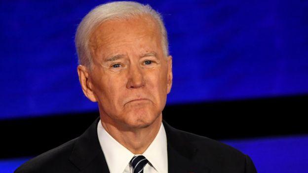 Joe Biden at a presidential debate in Iowa