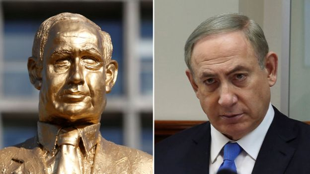 A composite image showing left, the golden sculpture, and right, a photograph of Mr Netanyahu