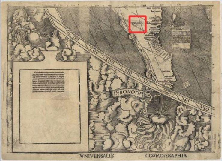 Sección del mapa donde aparece la palabra América.