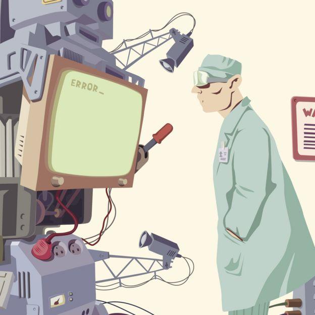 Ilustração de um homem com um robô