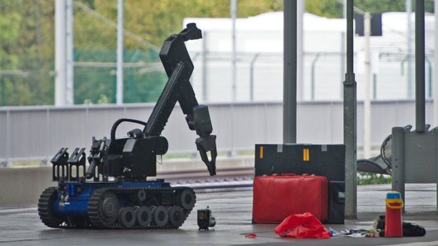 A remote-controlled robot for bombing disarming is on a track of the main station of the town of Chemnitz, eastern Germany on October 8, 2016