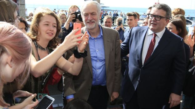 Jeremy Corbyn arriving in Brighton on 26/09/15