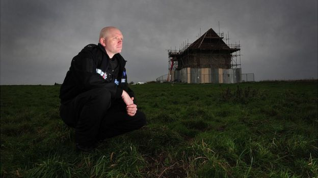 PC Andy Long has found illegal treasure hunters digging up the ground of scheduled ancient monuments such as the site of St Peter's Chapel at Bradwell in Essex