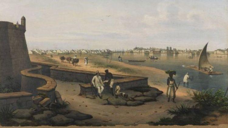 Vista da cidade do Recife a partir do Forte de São João Batista do Brum por volta de 1800