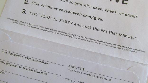 Formulario de aportes monetarios de la iglesia