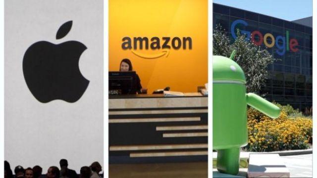 Imagens mostram as logos da Apple, do Amazon e do Google
