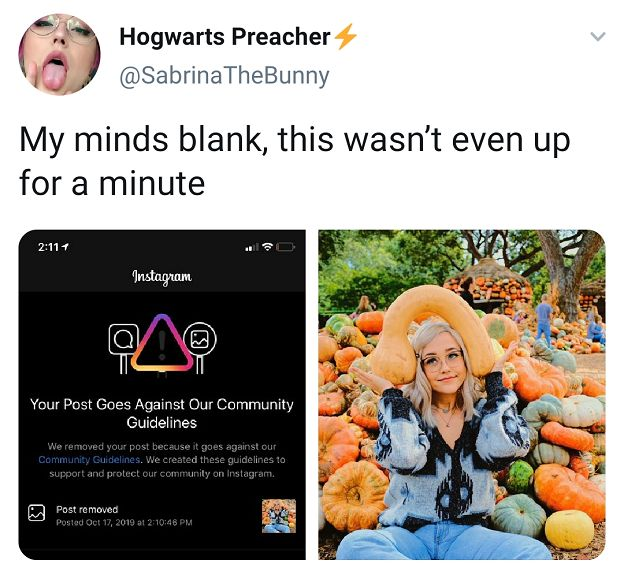 "Instagram post of ""sabrina the bunny"" fully clothed posing with a pumpkin on her head and another screenshot of the post being banned by Instagram. Performers say that even posts such as these are consistently reported as inappropriate - and they have no idea why"