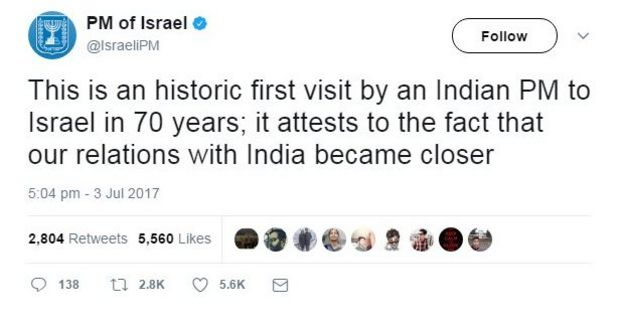 This is an historic first visit b an Indian PM to Israel in 70 years; it attests to the fact that our relations with India became closer