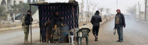 Rebel fighters in al-Rai, in northern Aleppo province