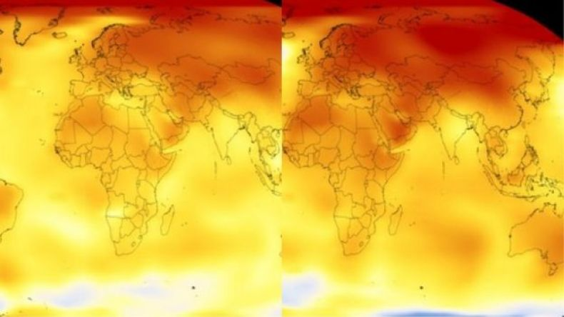 Global temperature heat maps from 2009 and 2017.