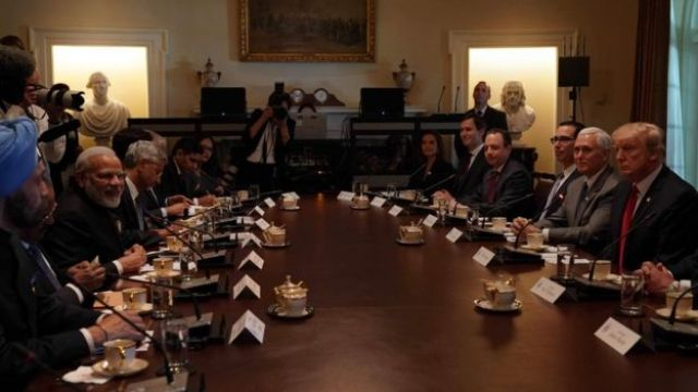 Indian Prime Minister Narendra Modi and US President Donald Trump in the Cabinet Room at The White House in Washington on June 26, 2017.