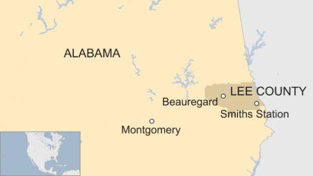 Map of Lee County, Alabama