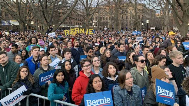 Supporters at a Bernie Michigan rally