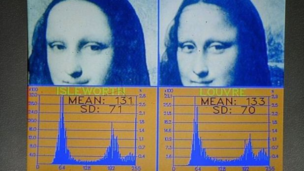 Histograms displaying colour similarities between the two paintings at the Mona Lisa Foundation presentation in Geneva, Switzerland