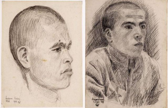 Otro dibujo de Hatam Kadirov y un prisioneros no identificado (posiblemente Zair Muratov).