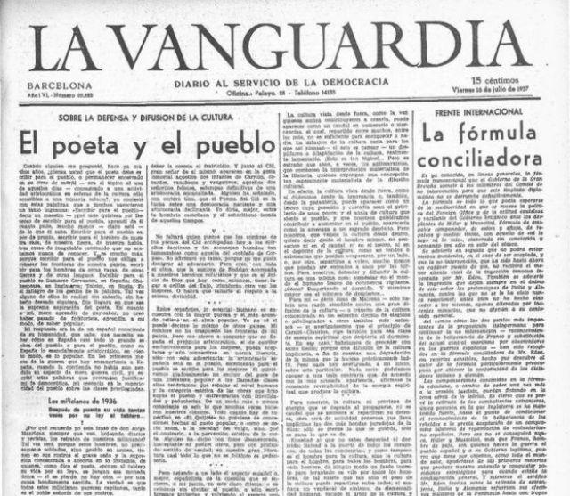Portada del diario La Vanguardia del viernes 16 de julio de 1937.