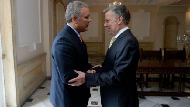Presidente de Colombia Iván Duque y expresidente Juan Manuel Santos.
