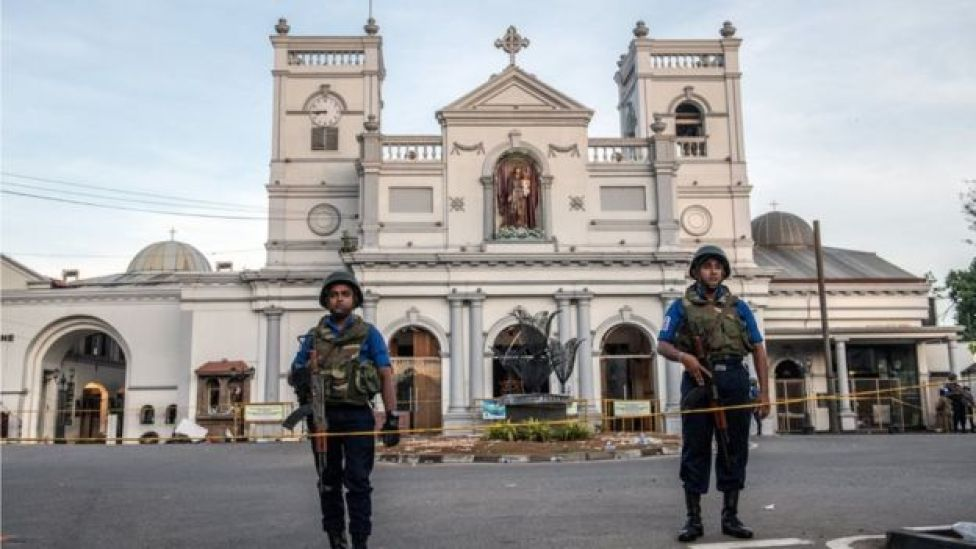 Police in front of St. Anthony's church
