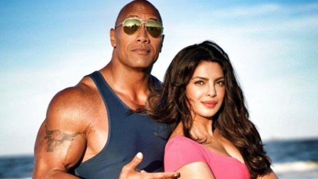 Priyanka Chopra on the set of Baywatch with Dwayne 'The Rock' Johnson