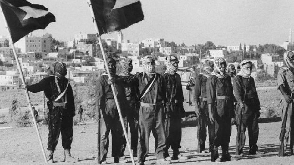 Milicianos palestinos del movimiento Fatah en 1970.