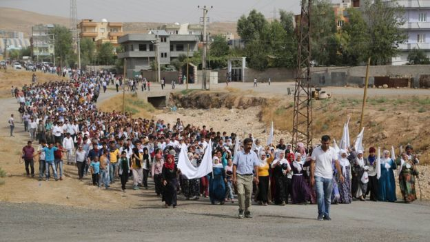 A march in the Konak neighbourhood of Cizre on Wednesday