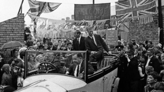 Bobby and Jack Charlton leave their mother's house in Ashington, to go to a civic reception after the World Cup win on 18 August 1966